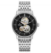Rado Coupole Classic Open Heart Automatic XL Schwarz Silber Edelstahl-Armband Herrenuhr R22894153