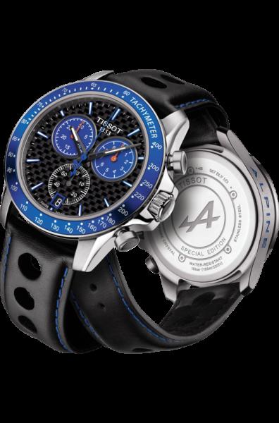 Tissot V8 Alpine Special Edition Chronograph 42mm Schwarz Blau Leder-Armband Quarz T106.417.16.201.01