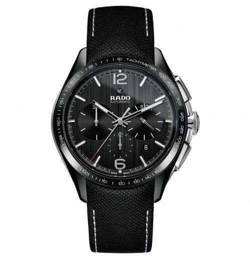 Rado HyperChrome Automatic Chronograph XXL Schwarz Leder-Armband Herrenuhr 45mm R32121155 | Uhren-Lounge