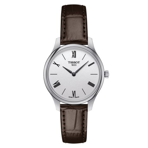 Tissot Tradition 5.5 Lady 31mm Silber Leder-Armband braun Quarz Damenuhr T063.209.16.038.00 | Uhren-Lounge