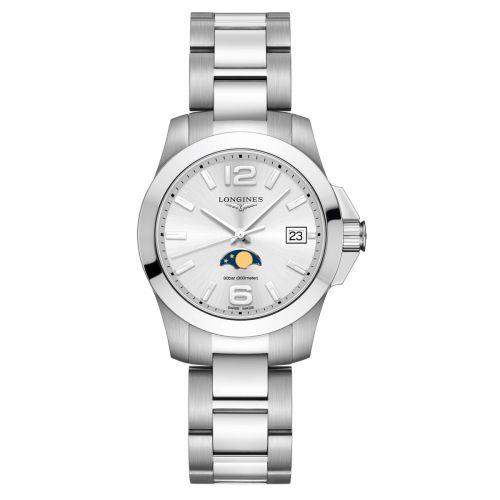 Longines Conquest Mondphase Damenuhr 34mm Silbern Edelstahl-Armband Quarz L3.381.4.76.6