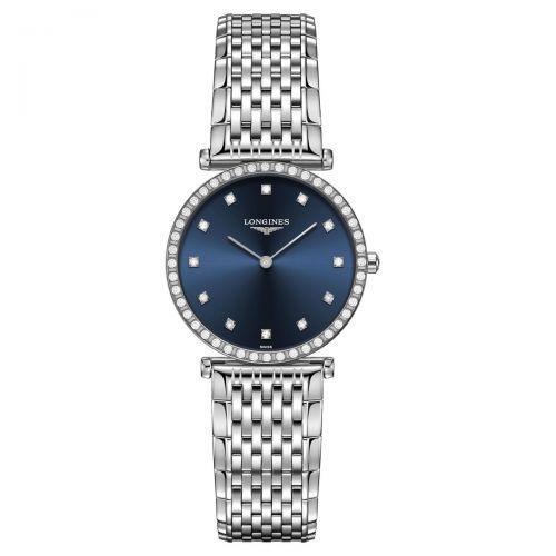 Longines La Grande Classique Damenuhr mit Diamanten Silber Blau Edelstahl Quarz 29mm L4.523.0.97.6