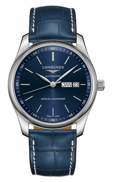 Longines Master Collection Jahreskalender Automatic 40mm Blau Leder-Armband L2.910.4.92.0 | Uhren-Lounge