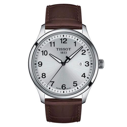 Tissot Gent XL Classic 42mm Silber Leder-Armband Braun Quarz T116.410.16.037.00 | Uhren-Lounge