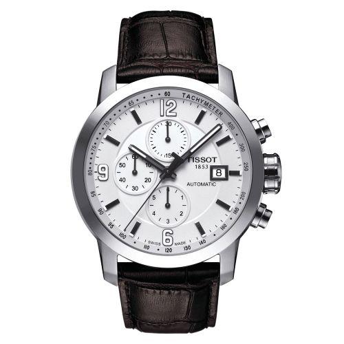 Tissot PRC 200 Automatic Chronograph 44mm Silber Weiß Leder-Armband T055.427.16.017.00