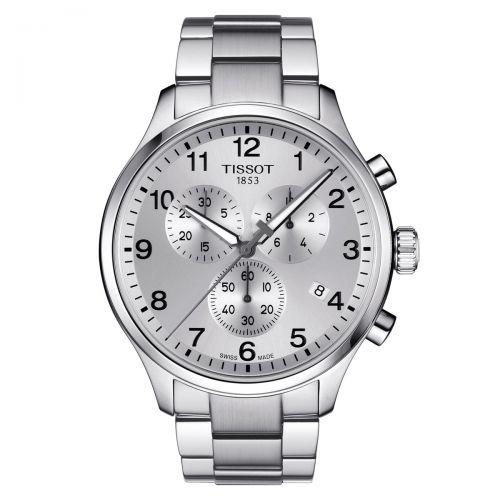 Tissot Chrono XL Classic Silbern Edelstahl-Armband Herrenuhr Chronograph Quarz 45mm T116.617.11.037.00