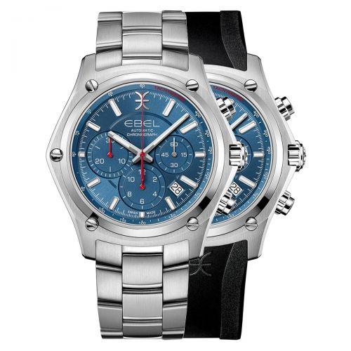 Ebel Discovery Automatic Chronograph Herrenuhr Blau Edelstahl- & Kautschuk-Armband 43mm 1216505