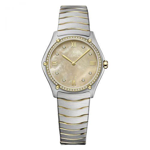 Ebel Sport Classic Grande Damenuhr mit Diamanten Bicolor Beige Perlmutt 33mm Quarz 1216544