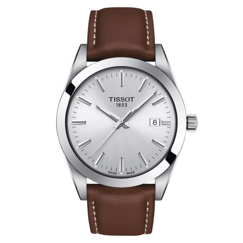 Tissot Gentleman Silber Leder-Armband Braun Quarz Herrenuhr 40mm T127.410.16.031.00   Uhren-Lounge