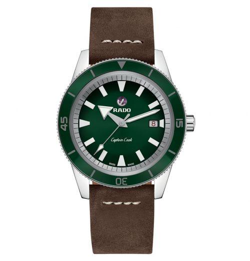 Rado Captain Cook Grün Leder-Armband XL Herrenuhr Automatik 42mm R32505315 | Uhren-Lounge