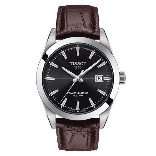 Tissot Gentleman Powermatic 80 Silicium Silber Schwarz Leder-Armband Braun 40mm T127.407.16.051.01