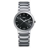 Rado Centrix S Damenuhr Silber mit schwarzem Zifferblatt Edelstahl Quarz 28mm R30928153