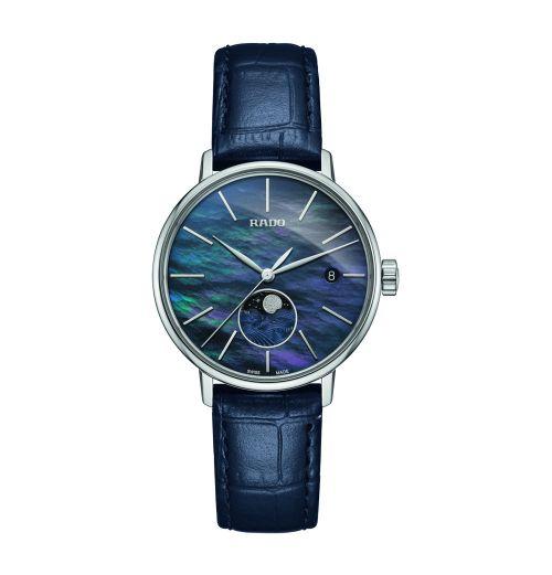 Rado Coupole Classic Damenuhr Blau Perlmutt Mondphase Leder-Armband Quarz 34mm R22883915 | Uhren-Lounge