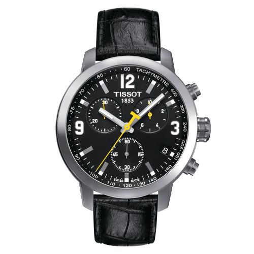 Tissot PRC 200 Chronograph mit schwarzem Zifferblatt & Leder-Armband 42mm Quarz T055.417.16.057.00