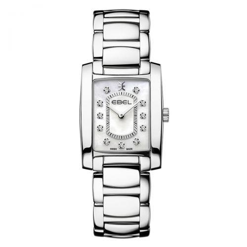 Ebel Brasilia Mini Damenuhr Silber mit Perlmutt-Zifferblatt & Diamanten Quarz 1216462