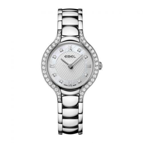 Ebel Uhr Damen Silber mit Diamanten weißes Perlmutt-Zifferblatt mit silbernem Muster Quarz 28mm Ebel Beluga 1216465 | Uhren-Lounge