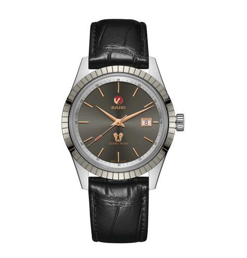 Rado HyperChrome Classic Automatic XL Herrenuhr 42mm Silber Grau Leder-Armband Schwarz R33101105