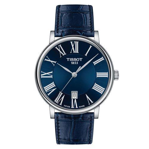 Tissot Carson Premium Silber mit blauem Zifferblatt & Leder-Armband Herren 40mm Quarz T122.410.16.043.00