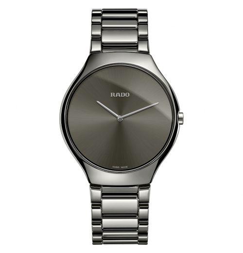 Rado True Thinline grau anthrazit Keramik Uhr Herren & Damen 39mm Quarz R27955122 | Uhren-Lounge