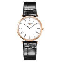 Longines La Grande Classique Damenuhr Rosegold Weiß Leder-Armband Quarz 33mm L4.709.1.21.2