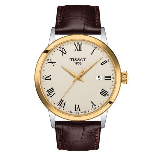 Tissot Classic Dream Herrenuhr 42mm Quarz Gold Elfenbein Leder-Armband T129.410.26.263.00