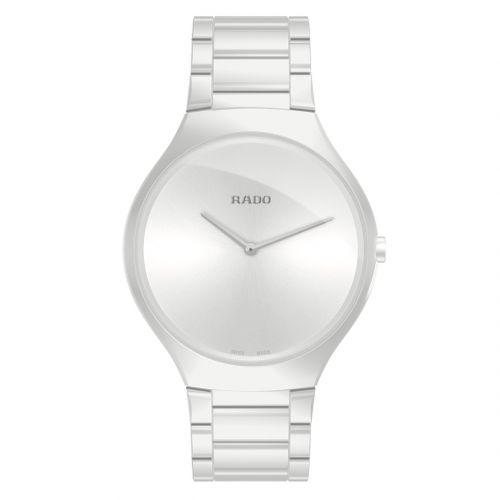 Rado True Thinline L Weiß Keramik Uhr Damen Herren 39mm Quarz R27957012