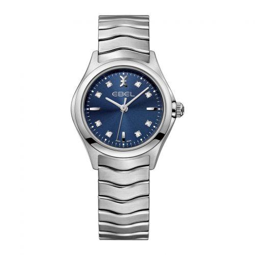 Ebel Uhr Damen silber Zifferblatt blau mit Diamanten 30mm Quarz Wave Lady 1216315
