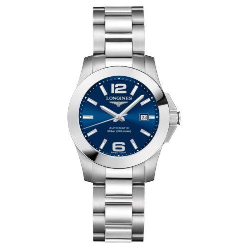 Longines Conquest Automatic Damenuhr 29,5mm mit blauem Zifferblatt & Edelstahl-Armband L3.276.4.99.6