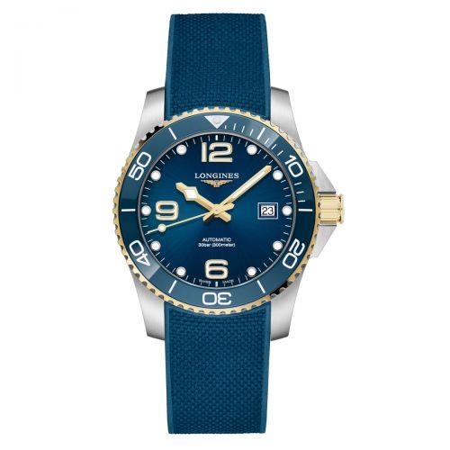 Longines HydroConquest Automatik 41mm Bicolor Blau Gold Kautschuk-Armband Taucheruhr L3.781.3.96.9