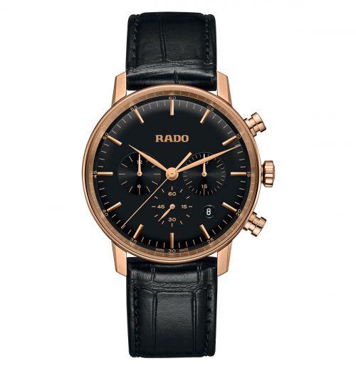 Rado Coupole Classic Chronograph XL Herren 42mm Rosegold Schwarz Leder-Armband Quarz R22911165