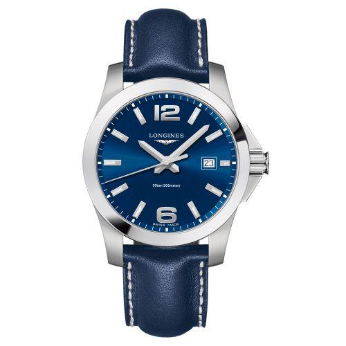 Longines Conquest Quarz 41mm mit blauem Zifferblatt & blauem Leder-Armband Herrenuhr L3.759.4.96.0
