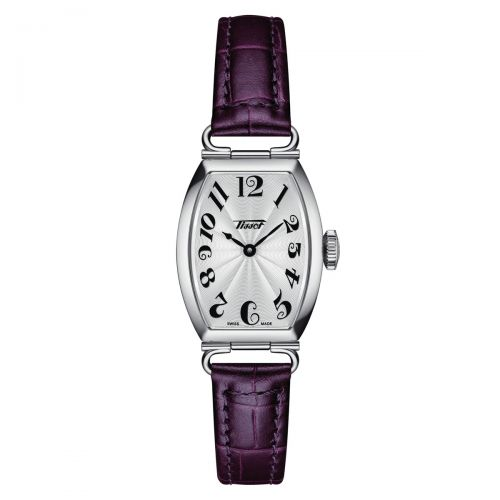 Tissot Heritage Porto Small Lady Damenuhr Silber Violett Leder-Armband Quarz T128.109.16.032.00