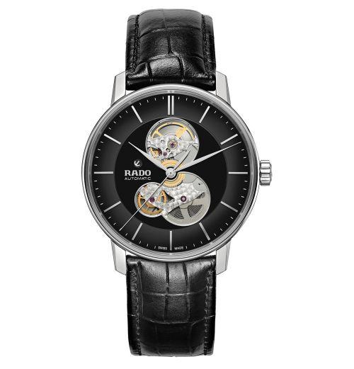 Rado Coupole Classic Open Heart Automatic Schwarz Leder-Armband 41mm Skelettuhr R22894155 | Uhren-Lounge