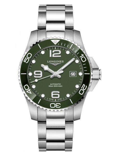 Longines HydroConquest Automatic 43mm Grün Edelstahl-Armband Herrenuhr L3.782.4.06.6 | Uhren-Lounge