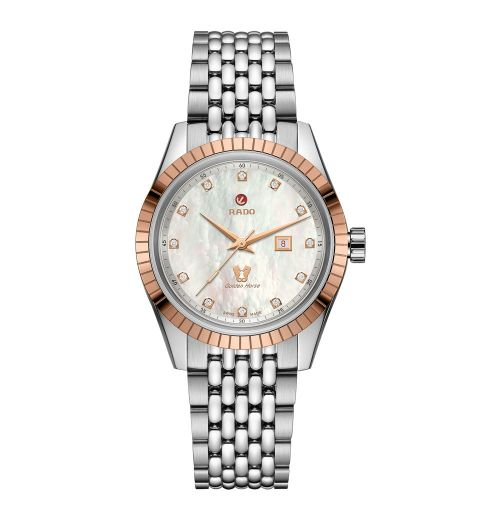 Rado HyperChrome Classic Automatic Diamonds Damenuhr mit Diamanten & Perlmutt 35mm R33102903
