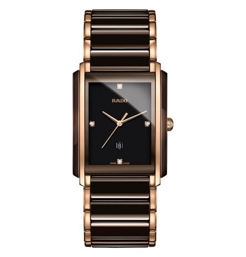 Rado Integral Diamonds L Herrenuhr Braun Rosegold Diamanten Keramik Quartz R20219712 | Uhren-Lounge