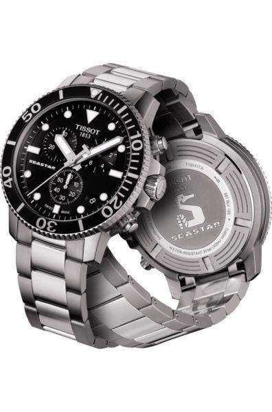 Tissot Seastar 1000 Quartz schwarz silber 45mm Herren Chronograph Taucheruhr T120.417.11.051.00