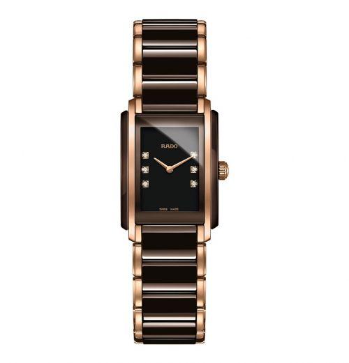 Rado Jubile Damenuhr Integral Diamonds S Braun Rosegold Diamanten Keramik Quartz R20199722 | Uhren-Lounge
