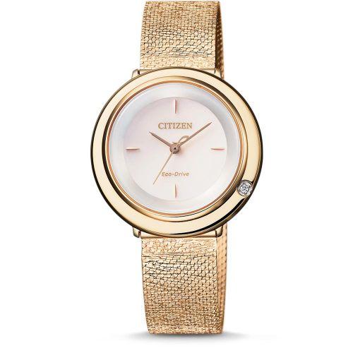 Citizen Uhr Damen Elegance Gold mit hellem Zifferblatt & Diamanten Eco-Drive Milanaise-Armband EM0643-84X günstig online kaufen