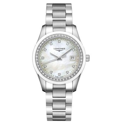Longines Conquest Classic Damenuhr Silber mit weißem Perlmutt-Zifferblatt & Diamanten 36 mm Edelstahl-Armband Quarz L2.387.0.87.6
