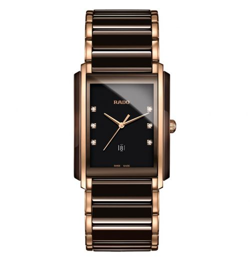 Rado Jubile Herrenuhr Integral Diamonds L Braun Rosegold Diamanten Keramik Quarz R20219722 | Uhren-Lounge