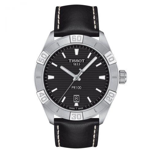 Tissot PR 100 Sport Gent Herrenuhr 42mm Silber Schwarz Leder-Armband Quarz T101.610.16.051.00