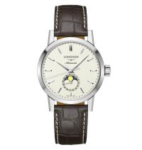 Longines 1832 Mondphase Herrenuhr Automatik beiges Zifferblatt & Leder-Armband 40mm L4.826.4.92.2 | Uhren-Lounge