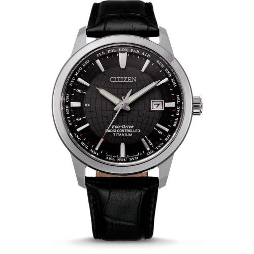 Citizen Funkuhr Weltzeit Eco-Drive Titanium Herren 43mm Schwarz Leder-Armband CB0190-17E | Uhren-Lounge