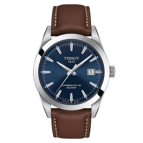 Tissot Gentleman Powermatic 80 Silicium Blau Leder-Armband Herrenuhr 40mm T127.407.16.041.00 | Uhren-Lounge