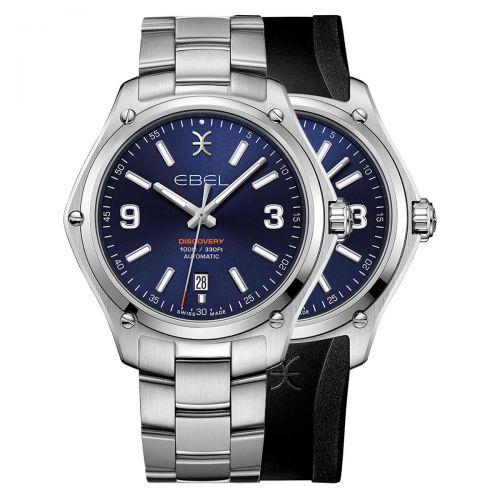 Ebel Discovery Automatic Herrenuhr Blau Edelstahl- & Kautschuk-Armband 41mm 1216458