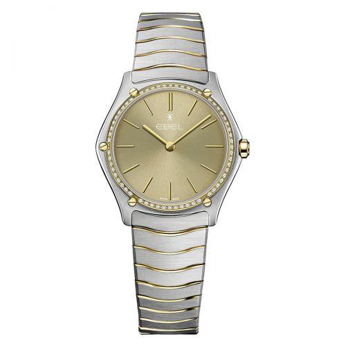 Ebel Sport Classic Grande Damenuhr Bicolor Khaki Beige mit Diamanten 33mm Quarz 1216511A