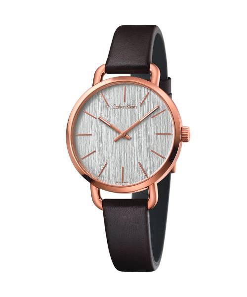 Calvin Klein Damenuhr Rosegold Zifferblatt Silber Leder-Armband braun Quarz 36mm even K7B236G6 | Uhren-Lounge