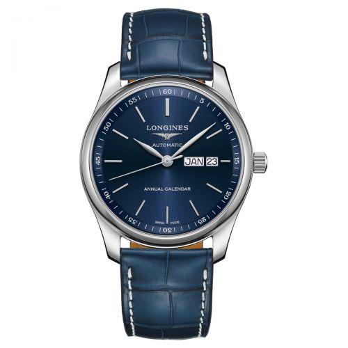 Longines Master Collection Annual Calendar 40mm Blau Leder-Armband Herrenuhr L2.910.4.92.0