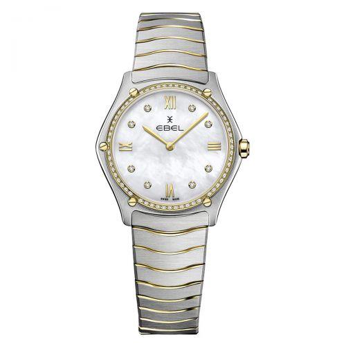 Ebel Sport Classic Grande Damenuhr mit Diamanten Bicolor Weiß Perlmutt 33mm Quarz 1216512A